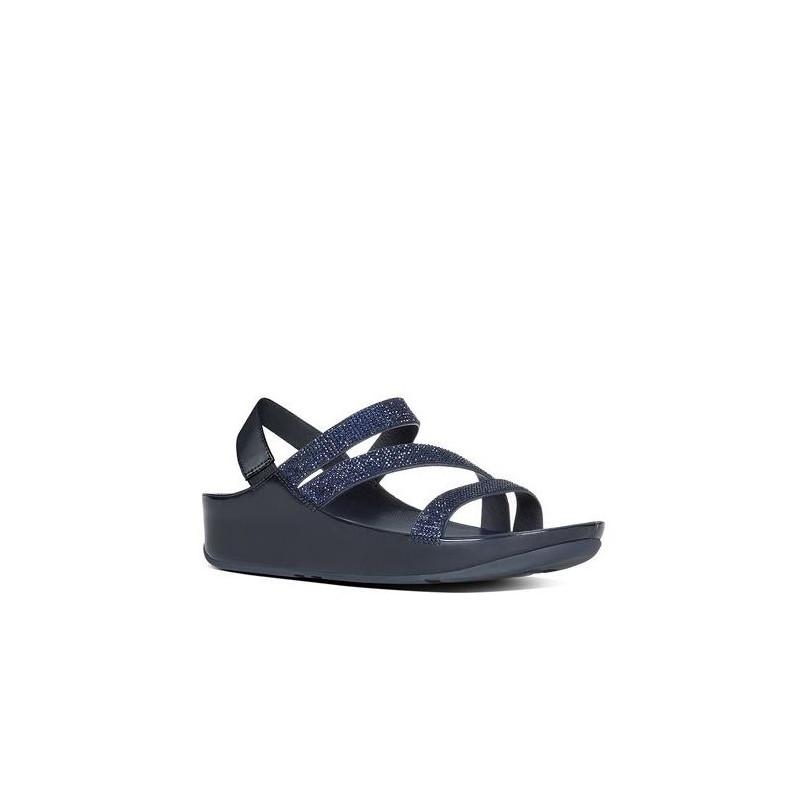 sandali donna fitflop e24 097 crystallz strap sandal navy