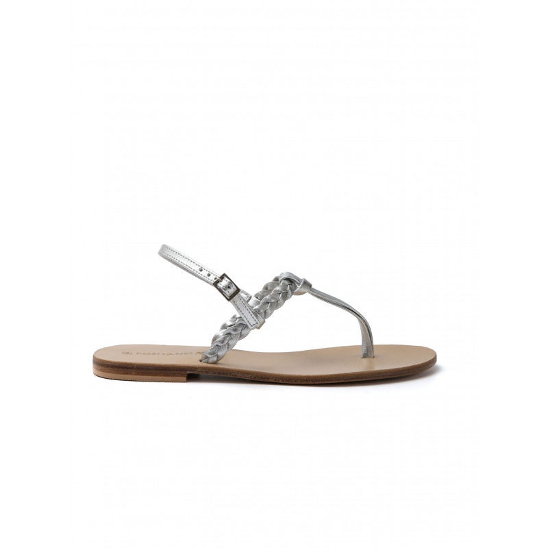 sandali donna positano 4812treccia argento