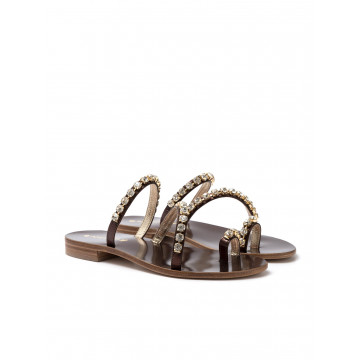 sandals woman positano 4859 laminato bronzo
