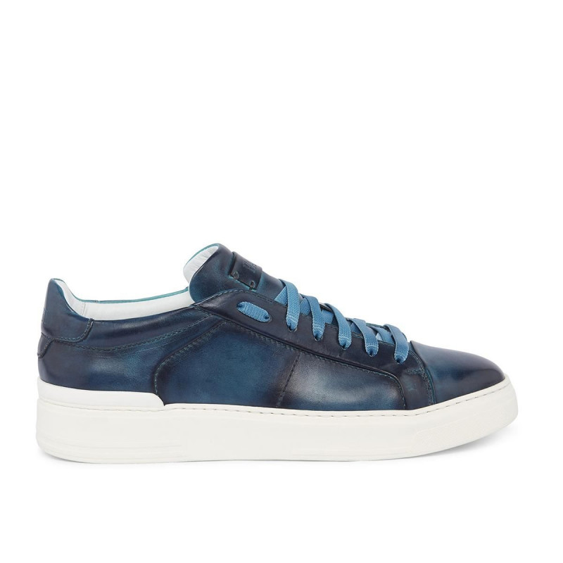 Challenge sneakers in blu waxed leather