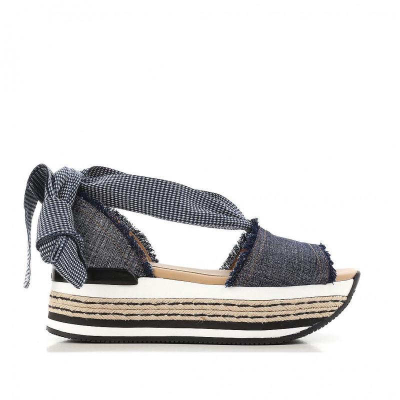 Sandalo In H222 Maxi Denim E Corda Zeppa xCBedor