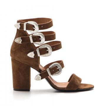 sandals woman via roma 15 2700camoscio cuoio