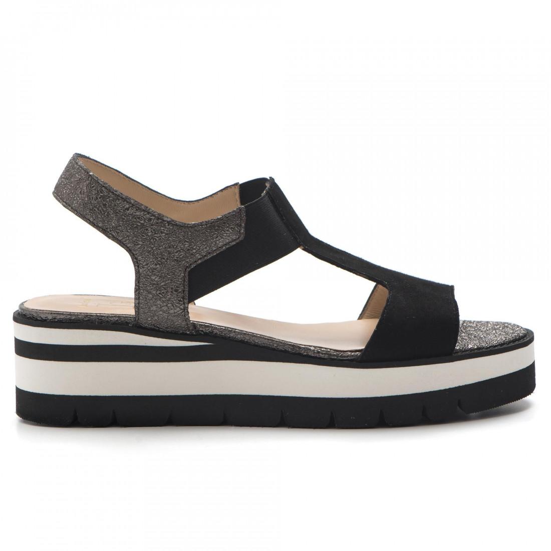best sneakers 2e33f 36805 Sandalo nero e grigio con zeppa bassa