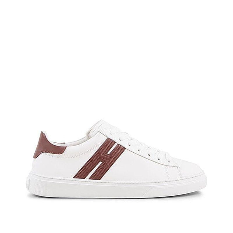 Sneakers Hogan H365 in pelle bianca e bordeaux 4178b40c75f