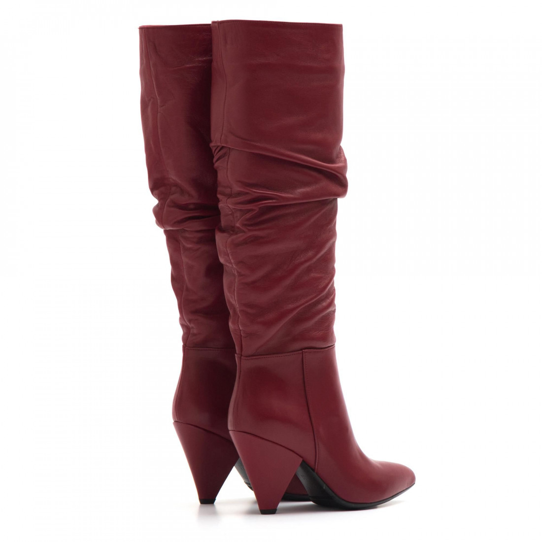 rivenditore di vendita scegli il più recente stili diversi Stivali rossi in pelle arricciata con tacco alto a cono