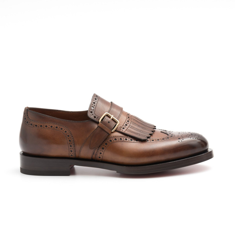 vasto assortimento risparmia fino al 60% guarda bene le scarpe in vendita Scarpa mono fibbia SANTONI marrone con frangia