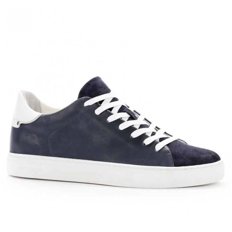 Sneaker Crime London Beat blu in pelle e camoscio 208b0b37d14