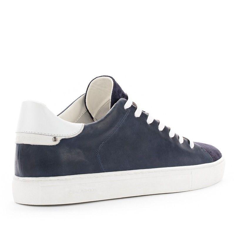 58f2e131d0082 Sneaker Crime London Beat blu in pelle e camoscio