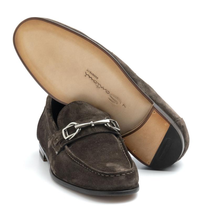 la vendita di scarpe grande liquidazione cercare Mocassino con morsetto Santoni marrone in camoscio