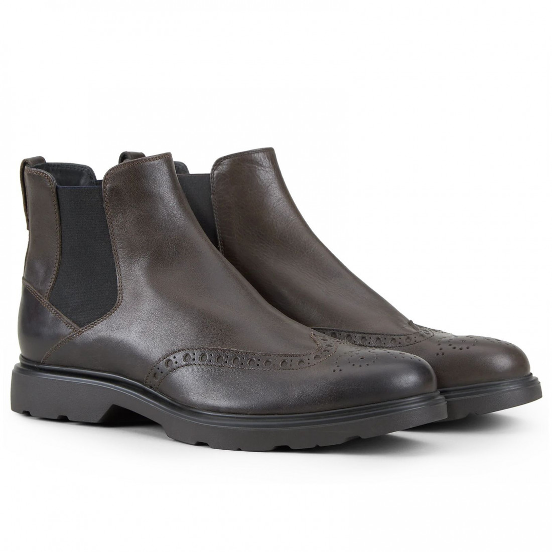 negozio del Regno Unito vende rivenditore di vendita Stivaletti Chelsea Boot uomo Hogan Route marrone scuro