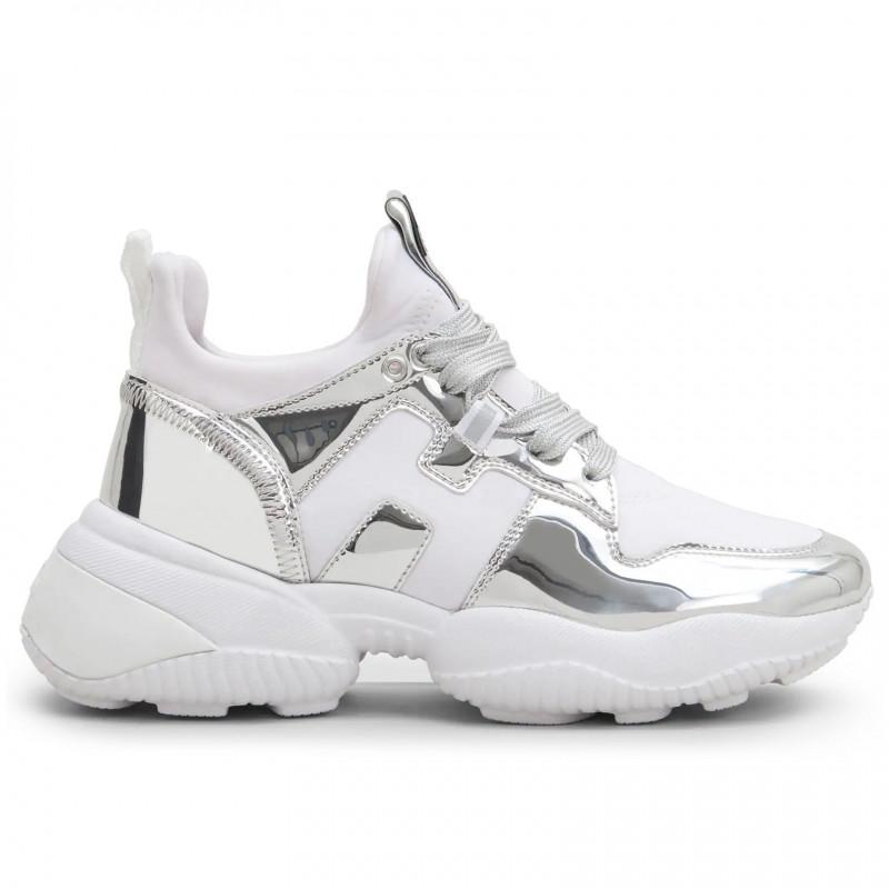 sports shoes ae550 f494d Scarpe donna Hogan Interaction argento e bianche