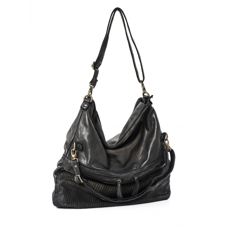 handbags woman reptiles house h 327 calf moon nero metal