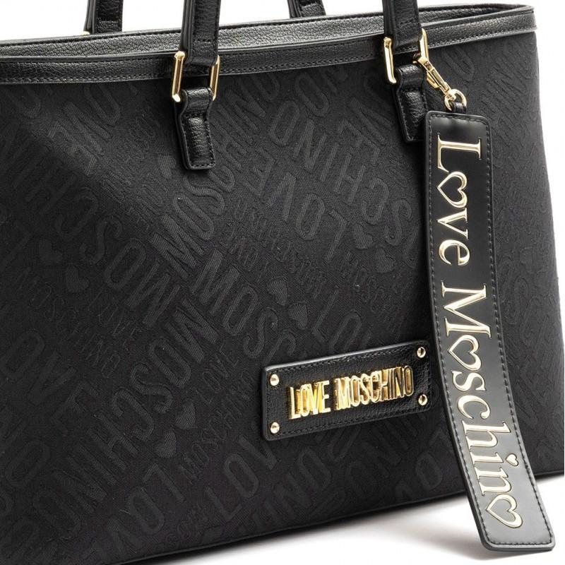Borsa shopping Love Moschino nera con scritta oro