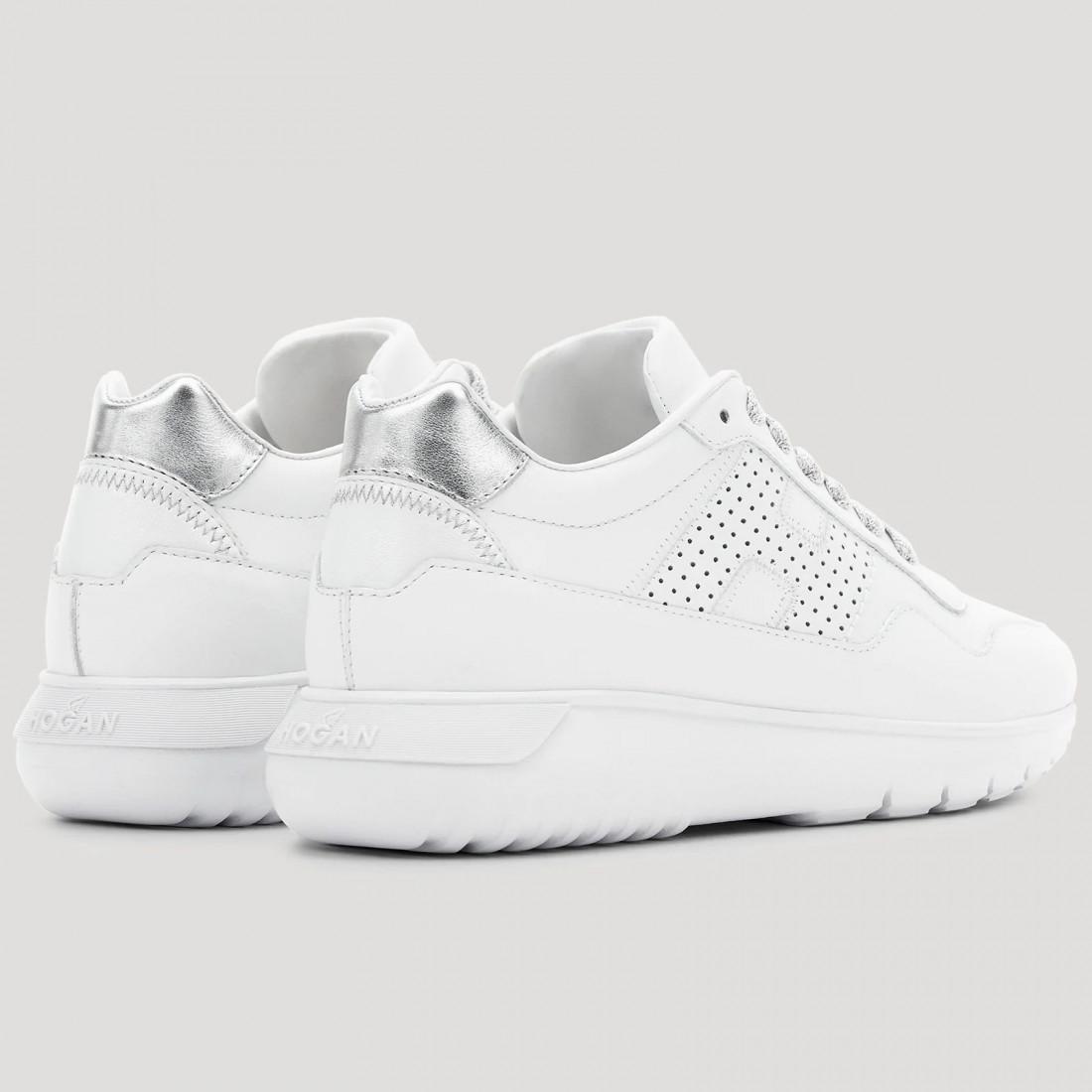 Sneaker donna Hogan Interactive 3 bianca e argento in pelle