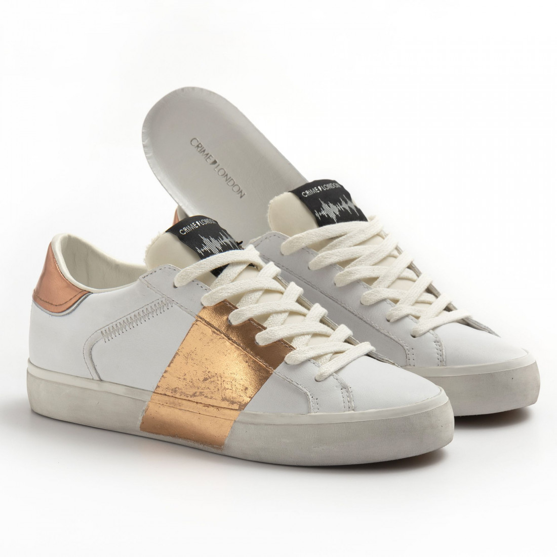 sneakers donna crime london 2556010 bianco rame 8284
