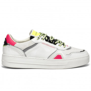 sneakers donna crime london 2500210 bianco fuxia 8441
