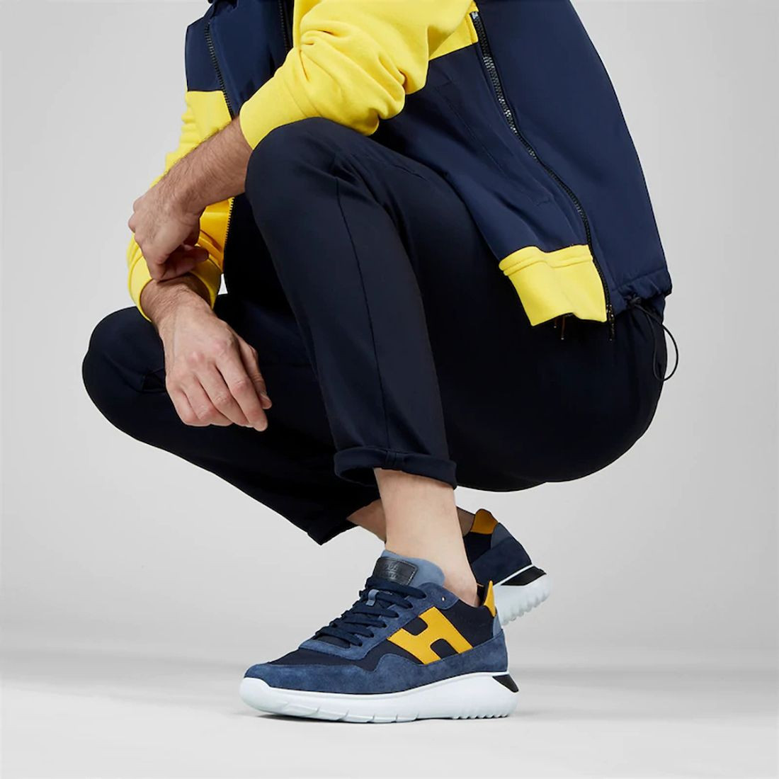 Sneaker uomo Hogan Interactive 3 blu e gialla