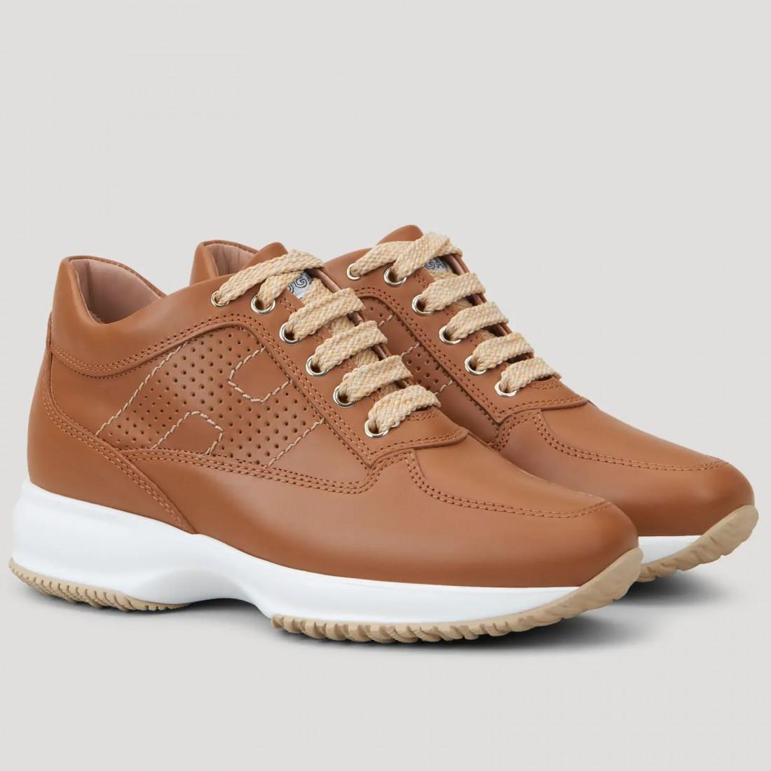 Sneakers donna Hogan Interactive marrone chiaro in pelle