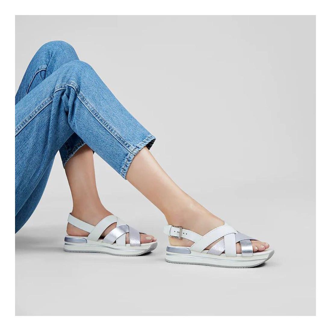 Sandalo incrociato donna Hogan H222 bianco e argento in pelle