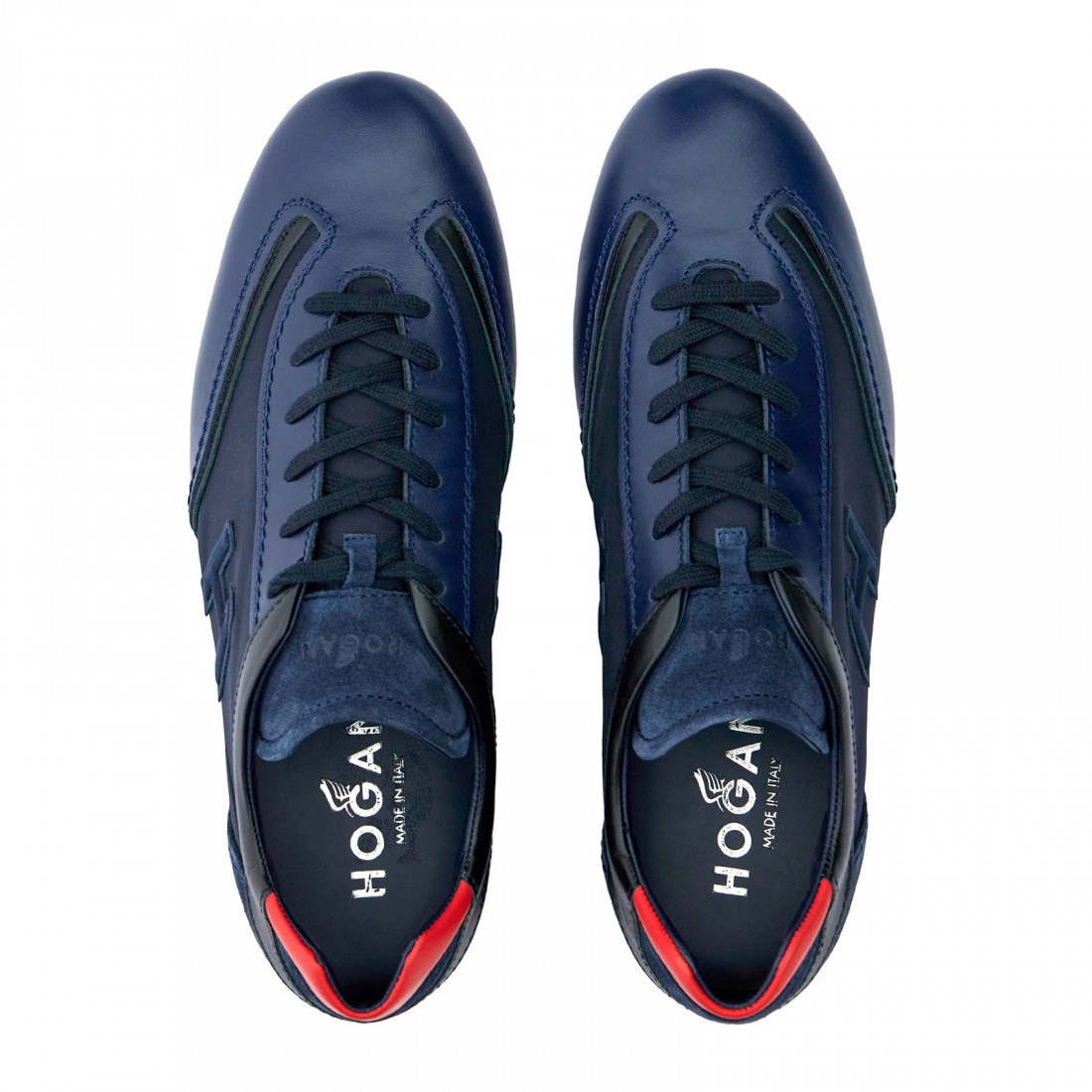 Sneaker da uomo Hogan Olympia blu e rossa in pelle e tessuto