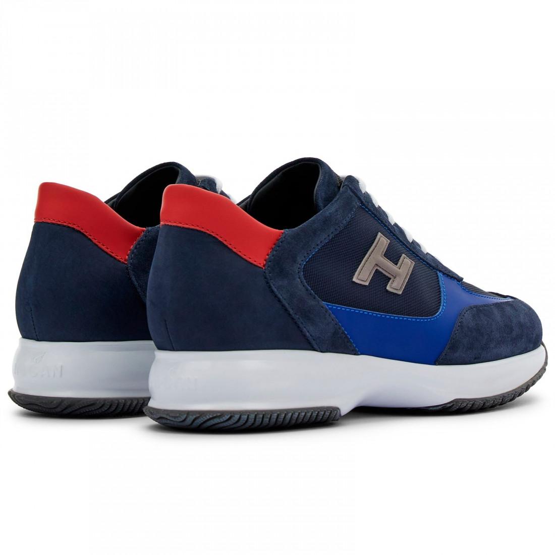 Hogan Interactive sneaker da uomo blu e rossa in suede e tessuto