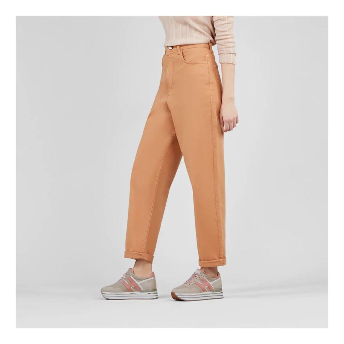 Sneaker Hogan Midi H222 rosa e beige in camoscio e tessuto